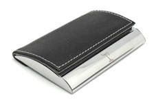 Leather & Metal visiting card holder